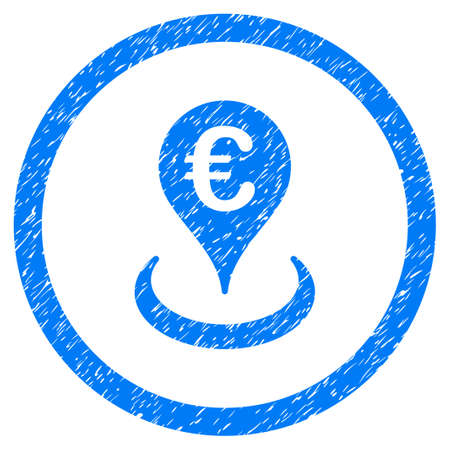 Rounded Euro Location rubber seal stamp watermark. Icon symbol inside circle with grunge design and unclean texture. Unclean raster blue sticker.
