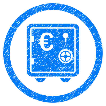 Rounded Euro Safe rubber seal stamp watermark. Icon symbol inside circle with grunge design and unclean texture. Unclean vector blue sticker.