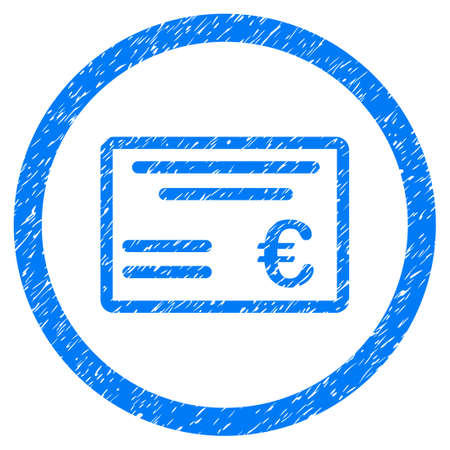 Rounded Euro Cheque rubber seal stamp watermark. Icon symbol inside circle with grunge design and dirty texture. Unclean raster blue sticker. Stock Photo