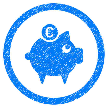 Rounded Euro Piggy Bank rubber seal stamp watermark. Icon symbol inside circle with grunge design and unclean texture. Unclean raster blue emblem. Stock Photo