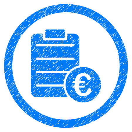 Rounded Euro Prices rubber seal stamp watermark. Icon symbol inside circle with grunge design and unclean texture. Unclean raster blue sticker.
