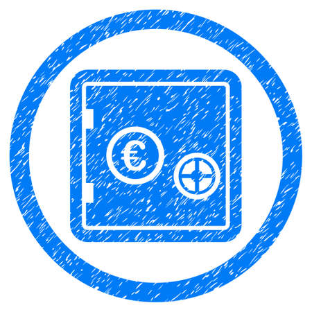 Rounded Euro Safe rubber seal stamp watermark. Icon symbol inside circle with grunge design and dust texture. Unclean raster blue emblem.