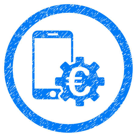 Rounded Configure Mobile Euro Bank rubber seal stamp watermark. Icon symbol inside circle with grunge design and dust texture. Unclean raster blue emblem.