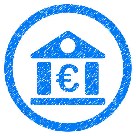 Rounded Euro Bank Building rubber seal stamp watermark. Icon symbol inside circle with grunge design and unclean texture. Unclean raster blue emblem.