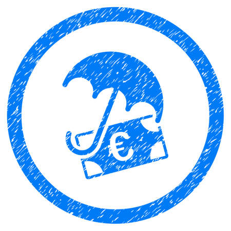 Rounded Euro Financial Umbrella rubber seal stamp watermark. Icon symbol inside circle with grunge design and dirty texture. Unclean raster blue sign. Stock Photo