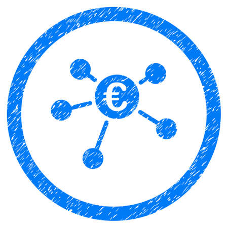 Rounded Euro Payments rubber seal stamp watermark. Icon symbol inside circle with grunge design and unclean texture. Unclean raster blue sticker.