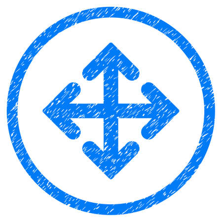 tetra: Direction Variants grainy textured icon inside circle for overlay watermark stamps. Flat symbol with dirty texture. Circled vector blue rubber seal stamp with grunge design. Illustration