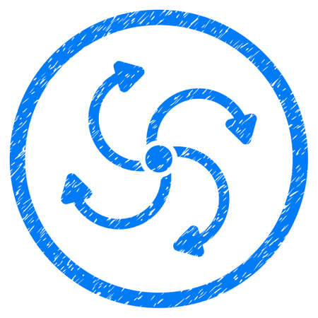 quark: Fan Rotation grainy textured icon inside circle for overlay watermark stamps. Flat symbol with unclean texture. Circled vector blue rubber seal stamp with grunge design.