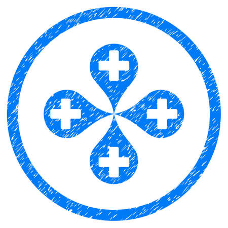 tetra: Hospital Map Markers grainy textured icon inside circle for overlay watermark stamps. Flat symbol with dust texture. Circled vector blue rubber seal stamp with grunge design.