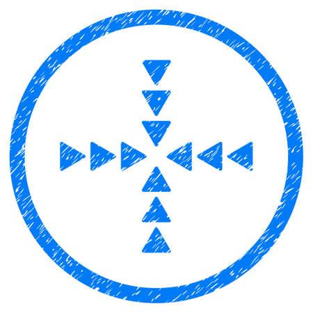 derrumbe: Inside Direction grainy textured icon inside circle for overlay watermark stamps. Símbolo plano con textura sucia. Sello de sello de goma de vector azul circulares con diseño de grunge. Vectores