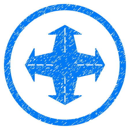 Intersection Directions grainy textured icon inside circle for overlay watermark stamps. Flat symbol with scratched texture. Circled vector blue rubber seal stamp with grunge design.