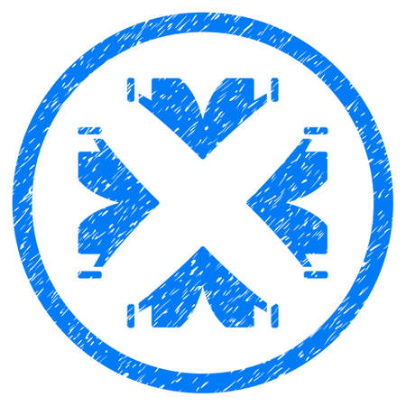 tetra: Tent Camp grainy textured icon inside circle for overlay watermark stamps. Flat symbol with dirty texture. Circled vector blue rubber seal stamp with grunge design.