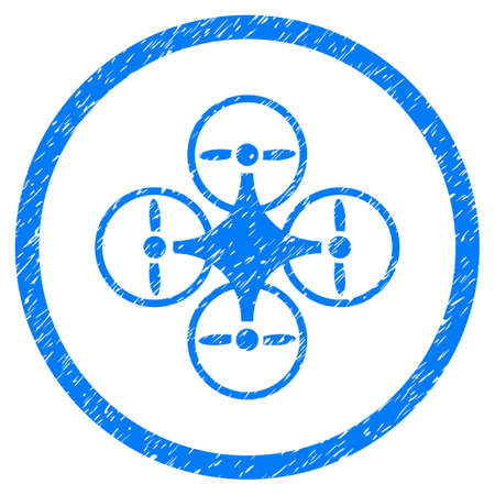 tetra: Air Copter grainy textured icon inside circle for overlay watermark stamps. Flat symbol with scratched texture. Circled raster blue rubber seal stamp with grunge design.