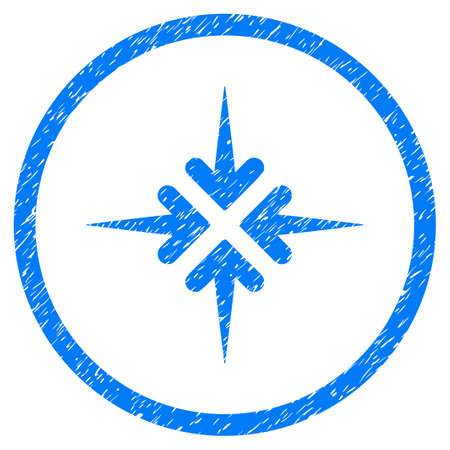 shrink: Impact Arrows grainy textured icon inside circle for overlay watermark stamps. Flat symbol with scratched texture. Circled raster blue rubber seal stamp with grunge design.