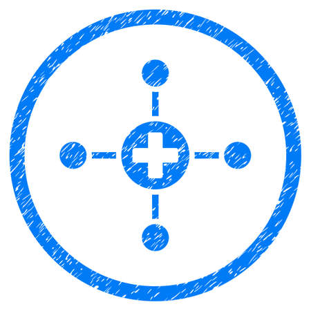 Medical Center grainy textured icon inside circle for overlay watermark stamps. Flat symbol with dirty texture. Circled raster blue rubber seal stamp with grunge design.