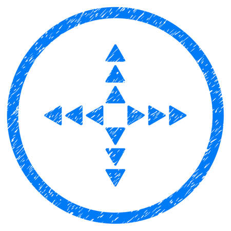 tetra: Outside Direction grainy textured icon inside circle for overlay watermark stamps. Flat symbol with scratched texture. Circled raster blue rubber seal stamp with grunge design.