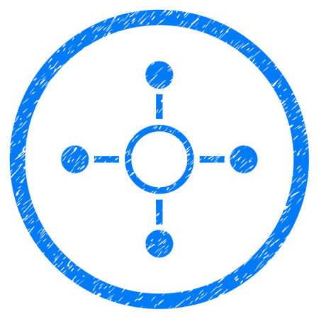 quark: Radial Structure grainy textured icon inside circle for overlay watermark stamps. Flat symbol with dust texture. Circled vector blue rubber seal stamp with grunge design.
