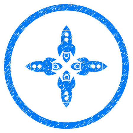 tetra: Rockets grainy textured icon inside circle for overlay watermark stamps. Flat symbol with unclean texture. Circled vector blue rubber seal stamp with grunge design.
