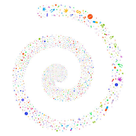 Narcotic Drugs majestic swirl spiral. Vector bright multicolored random pictographs.