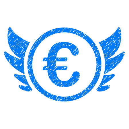 investor: Grunge Euro Angel Investment rubber seal stamp watermark. Icon symbol with grunge design and dirty texture. Unclean vector blue sticker. Illustration