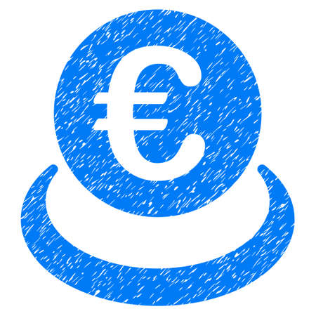Grunge Euro Deposit rubber seal stamp watermark. Icon symbol with grunge design and unclean texture. Unclean vector blue emblem.