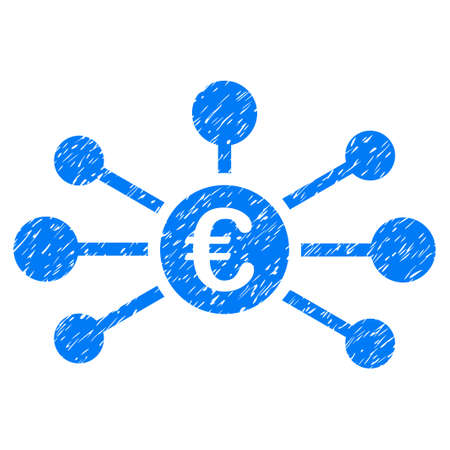 Grunge Euro Relations rubber seal stamp watermark. Icon symbol with grunge design and scratched texture. Unclean vector blue sticker.