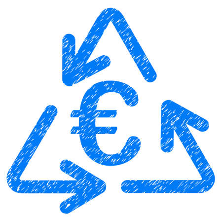 Grunge Euro Recycling rubber seal stamp watermark. Icon symbol with grunge design and unclean texture. Unclean vector blue sign.