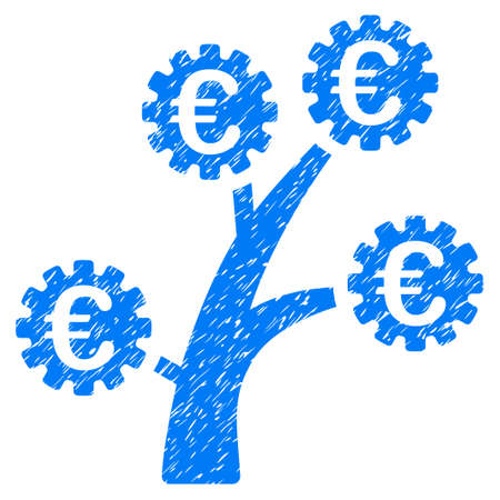 Grunge Euro Technology Tree rubber seal stamp watermark. Icon symbol with grunge design and scratched texture. Unclean vector blue sticker. Illustration