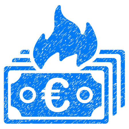 Grunge Burn Euro Banknotes rubber seal stamp watermark. Icon symbol with grunge design and scratched texture. Unclean raster blue emblem.