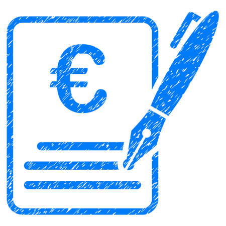 Grunge Euro Contract Signature rubber seal stamp watermark. Icon symbol with grunge design and unclean texture. Unclean raster blue emblem.