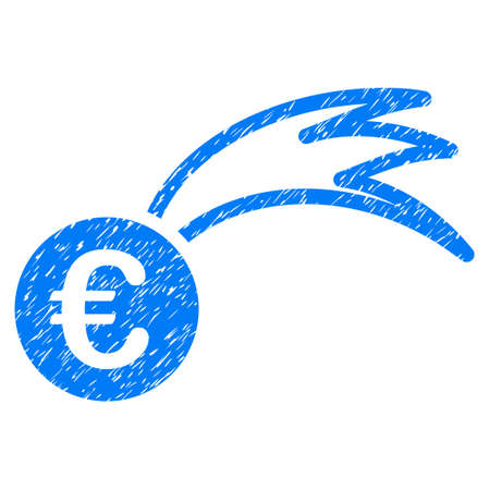 Grunge Euro Falling Meteor rubber seal stamp watermark. Icon symbol with grunge design and dust texture. Unclean raster blue sticker.