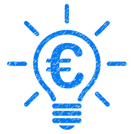 Grunge Euro Idea Bulb rubber seal stamp watermark. Icon symbol with grunge design and dirty texture. Unclean raster blue sticker. Stock Photo