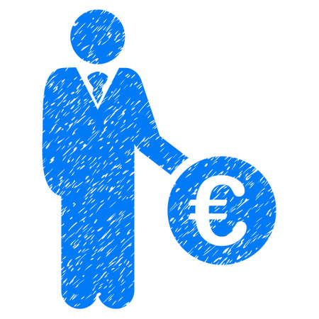 investor: Grunge Euro Investor rubber seal stamp watermark. Icon symbol with grunge design and dirty texture. Unclean raster blue sign.