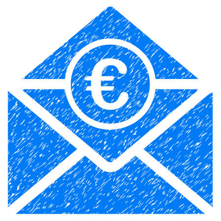 Grunge Euro Mail rubber seal stamp watermark. Icon symbol with grunge design and unclean texture. Unclean raster blue sticker. Stock Photo