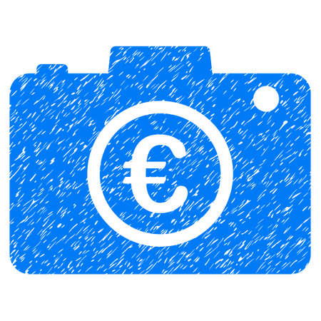 Grunge Euro Photo rubber seal stamp watermark. Icon symbol with grunge design and dust texture. Unclean raster blue sticker. Stock Photo