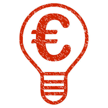 Grunge Euro Bulb rubber seal stamp watermark. Icon symbol with grunge design and scratched texture. Unclean vector red sticker. Illustration