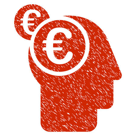 moneymaker: Grunge Euro Businessman Intellect rubber seal stamp watermark. Icon symbol with grunge design and dirty texture. Unclean vector red emblem.