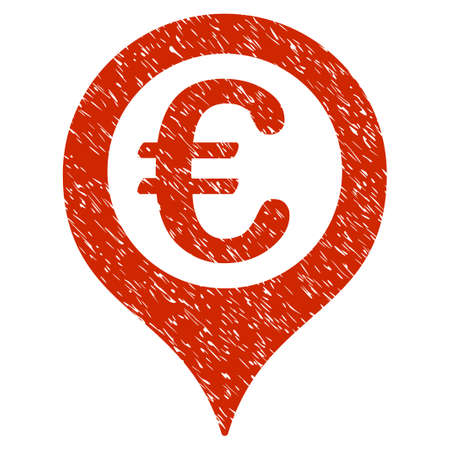 Grunge Euro Geotargeting rubber seal stamp watermark. Icon symbol with grunge design and dirty texture. Unclean vector red emblem. Illustration