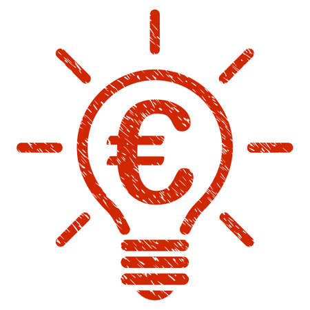 Grunge Euro Idea Bulb rubber seal stamp watermark. Icon symbol with grunge design and dirty texture. Unclean vector red emblem. Illustration