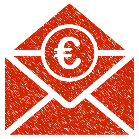Grunge Euro Mail rubber seal stamp watermark. Icon symbol with grunge design and dirty texture. Unclean vector red sticker. Illustration