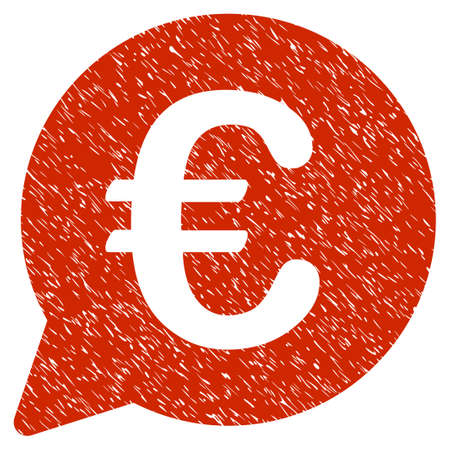 Grunge Euro Message Bubble rubber seal stamp watermark. Icon symbol with grunge design and scratched texture. Unclean vector red sign.