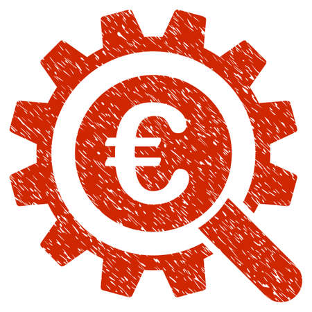 Grunge Euro Search Options rubber seal stamp watermark. Icon symbol with grunge design and dirty texture. Unclean vector red sticker.