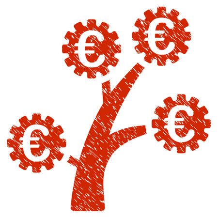 Grunge Euro Technology Tree rubber seal stamp watermark. Icon symbol with grunge design and unclean texture. Unclean vector red sign.