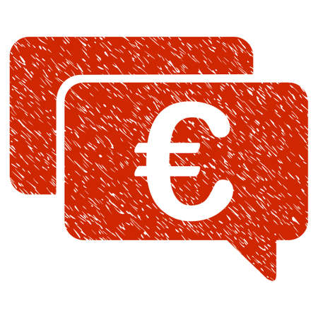 Grunge Euro Messages rubber seal stamp watermark. Icon symbol with grunge design and unclean texture. Unclean vector red emblem.