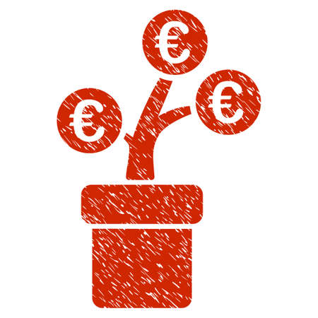 Grunge Euro Tree Pot rubber seal stamp watermark. Icon symbol with grunge design and dirty texture. Unclean vector red sign.