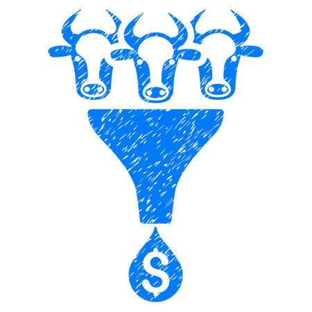 stricture: Grunge Cattle Profit Funnel rubber seal stamp watermark. Icon symbol with grunge design and unclean texture. Unclean vector blue sign.