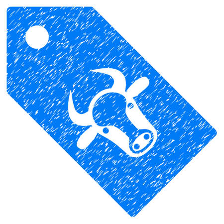 Grunge Bull Tag rubber seal stamp watermark. Icon symbol with grunge design and dust texture. Unclean vector blue emblem.