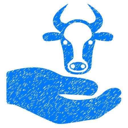 Grunge Cow Care Hand rubber seal stamp watermark. Icon symbol with grunge design and unclean texture. Unclean vector blue sign. Illustration