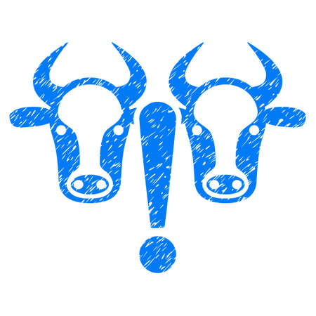 Grunge Cow Problem rubber seal stamp watermark. Icon symbol with grunge design and scratched texture. Unclean vector blue sticker.