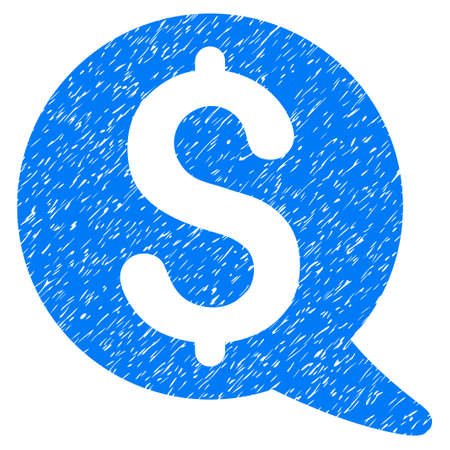 Grunge Financial Message Balloon rubber seal stamp watermark. Icon symbol with grunge design and dirty texture. Unclean vector blue sticker.